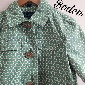 Boden jacket green polka dot size 10